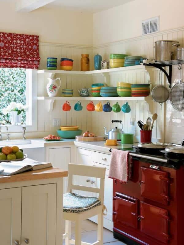 I like the colorful display of dishes instead of hiding them in cupboards.