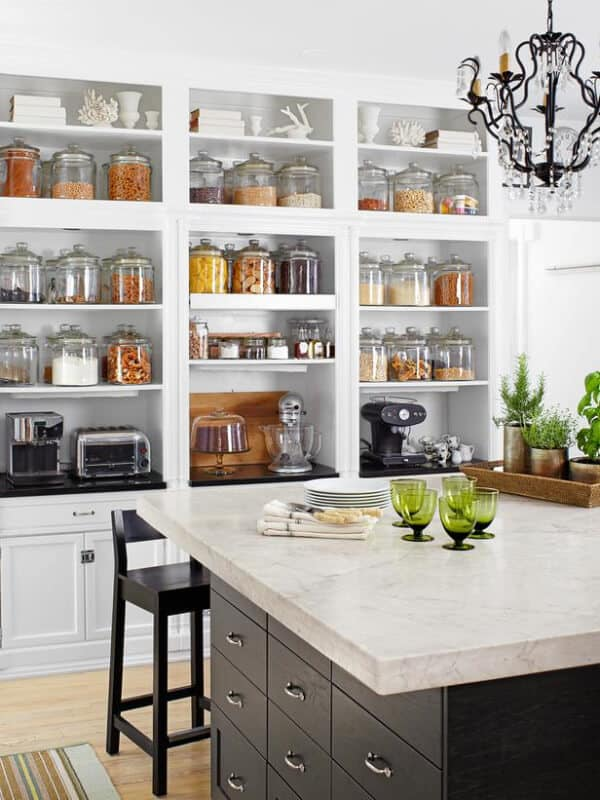 I like the look of the storage shelves on the wall. Cute way to keep all food I'm storing.