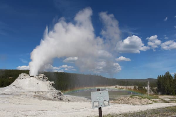 Full rainbow of Castle Geyser, Yellowstone