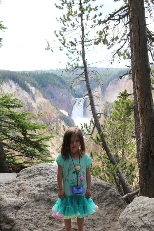 Our daughter at the Artist's Point lookout of the Lower Falls. She's such a huge bundle of energy that's always so excited (except in this picture). . .