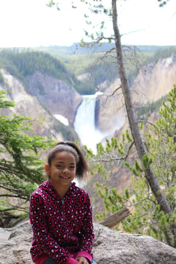 Our oldest at the Artist's Point lookout of the Lower Falls - Yellowstone